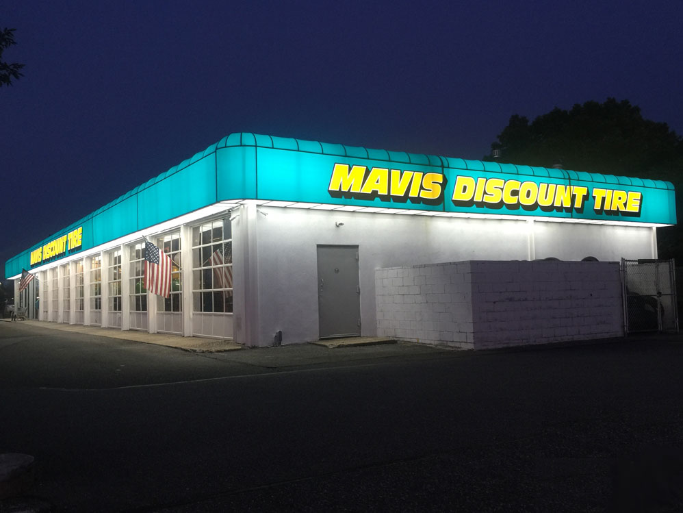 Mavis Discount Tire Awning Night View