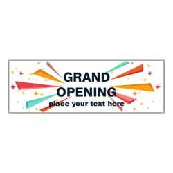Grand Opening Banner With Custom Text And Confetti