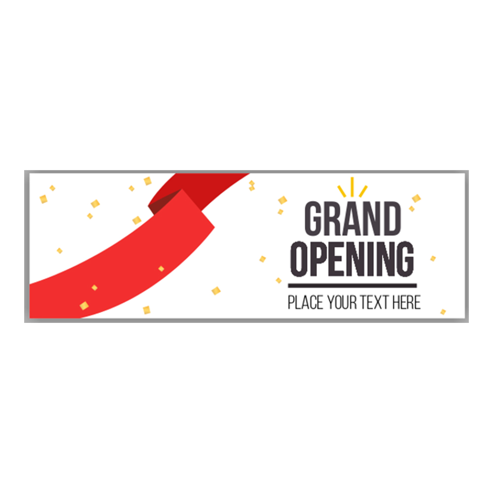 custom grand opening banner with red ribbon