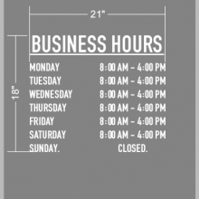Simple Vinyl Decal Store Hours