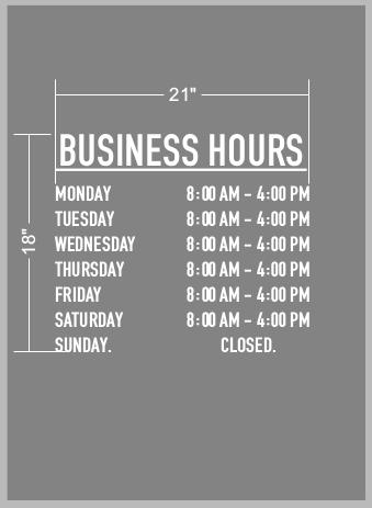 Simple Vinyl Decal Store Hours