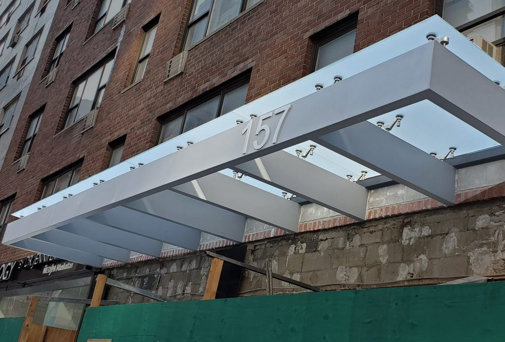 Commercial glass awnings