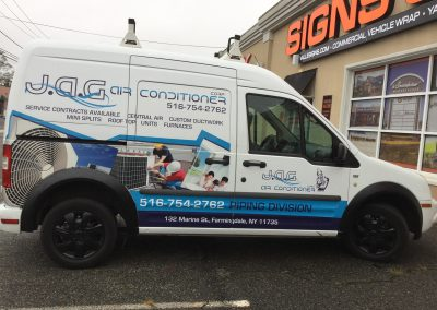 J A G Air Conditioner Corp Truck Lettering